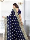 photo of Embroidery Designs On Art Silk Fabric Occasion Wear Saree In Navy Blue With Enticing Blouse