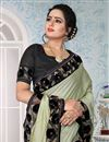 photo of Embroidery Work On Khaki Art Silk Fabric Function Wear Saree