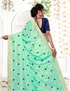 photo of Sea Green Designer Embroidered Work Saree In Georgette