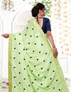 photo of Emboirdery Work On Georgette Light Green Party Wear Saree