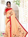 image of Salmon Georgette Festive Wear Saree With Embroidered Work
