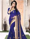 image of Occasion Wear Blue Saree With Embroidery Work