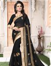 image of Festive Wear Embroidered Saree In Georgette With Embroidery Work