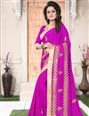 image of Georgette Magenta Party Wear Saree With Embroidery Work