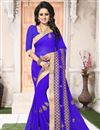 image of Embroidery Work On Georgette Blue Party Saree With Designer Blouse