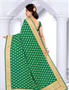 picture of Wonderful Green Color Party Wear Embroidered Saree In Georgette Fabric