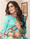 photo of Turquoise Art Silk Fabric Wedding Wear Saree With Embroidery Work And Gorgeous Blouse
