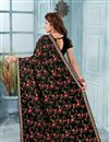 photo of Black Georgette Fabric Function Wear Saree With Embroidery Designs And Gorgeous Blouse