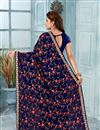 photo of Embroidery Work On Georgette Fabric Navy Blue Designer Saree With Alluring Blouse