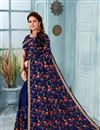 image of Embroidery Work On Georgette Fabric Navy Blue Designer Saree With Alluring Blouse