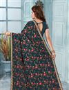 photo of Dark Grey Party Wear Saree In Georgette Fabric With Embroidery Work And Designer Blouse