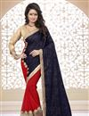 image of Designer Navy Blue-Red Color Half n Half Embroidered Saree in Velvet-Georgette Fabric