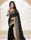 image of Embroidered Designer Georgette Fabric Saree in Black Color