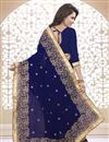 photo of Designer Georgette Saree with Embroidery in Navy Blue Color