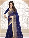 image of Designer Georgette Saree with Embroidery in Navy Blue Color
