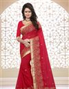 image of Designer Georgette Fabric Saree with Embroidery in Red Color