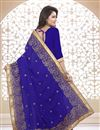 photo of Designer Georgette Fabric Saree in Blue Color with Embroidery