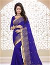 image of Designer Georgette Fabric Saree in Blue Color with Embroidery