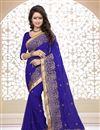 image of Blue Color Designer Saree in Georgette Fabric