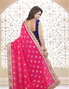 photo of Designer Half-Half Georgette Fabric Saree in Pink-Navy Blue Color with Embroidery
