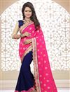 image of Designer Half-Half Georgette Fabric Saree in Pink-Navy Blue Color with Embroidery