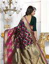 photo of Banarasi Silk Fabric Designer Green Color Party Wear South Indian Style Saree