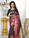 image of Banarasi Silk Fabric Designer Green Color Party Wear South Indian Style Saree