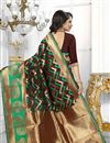 photo of Brown Color Banarasi Silk Fabric Party Wear South Indian Style Saree With Unstitched Blouse