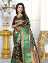 image of Brown Color Banarasi Silk Fabric Party Wear South Indian Style Saree With Unstitched Blouse