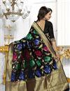 photo of Banarasi Silk Fabric Designer Black Color Party Wear South Indian Style Saree