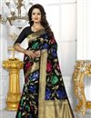 image of Banarasi Silk Fabric Designer Black Color Party Wear South Indian Style Saree