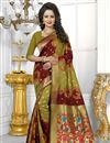 image of Designer Banarasi Silk Fabric Mehendi Green And Maroon Color Saree With Excellent Weaving Work