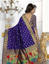 photo of South Indian Style Blue Color Banarasi Silk Party Wear Saree With Unstitched Blouse