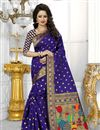 image of South Indian Style Blue Color Banarasi Silk Party Wear Saree With Unstitched Blouse