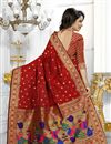 photo of Red Color South Indian Style Party Wear Saree In Banarasi Silk Fabric With Unstitched Blouse