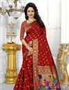 image of Red Color South Indian Style Party Wear Saree In Banarasi Silk Fabric With Unstitched Blouse