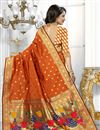 photo of Banarasi Silk Fabric Designer Orange Color Party Wear South Indian Style Saree