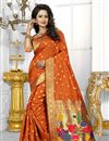 image of Banarasi Silk Fabric Designer Orange Color Party Wear South Indian Style Saree