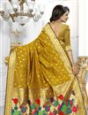 photo of Designer Banarasi Silk Fabric Golden Color Saree With Excellent Weaving Work