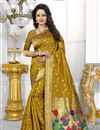 image of Designer Banarasi Silk Fabric Golden Color Saree With Excellent Weaving Work