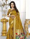 image of Designer Banarasi Silk Fabric Golden Color Saree With Excellent Weaving Work
