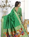 photo of Green Color Banarasi Silk Fabric Party Wear South Indian Style Saree With Unstitched Blouse