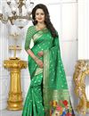 image of Green Color Banarasi Silk Fabric Party Wear South Indian Style Saree With Unstitched Blouse