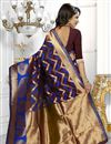 photo of South Indian Style Wine Color Banarasi Silk Party Wear Saree With Unstitched Blouse