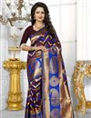 image of South Indian Style Wine Color Banarasi Silk Party Wear Saree With Unstitched Blouse