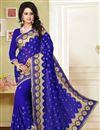 image of Blue Georgette Kashmiri Work Saree with Blouse
