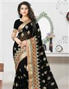 image of Tantalizing Black Color Designer Saree In Georgette Blouse