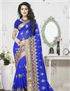 image of Impressive Blue Color Embroidered Saree In Georgette Fabric