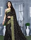image of Black Color Resham Work Party Wear Art Silk Fabric Saree With Fancy Blouse
