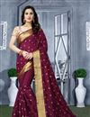 image of Resham Work Wine Wedding Wear Art Silk Fabric Saree With Blouse